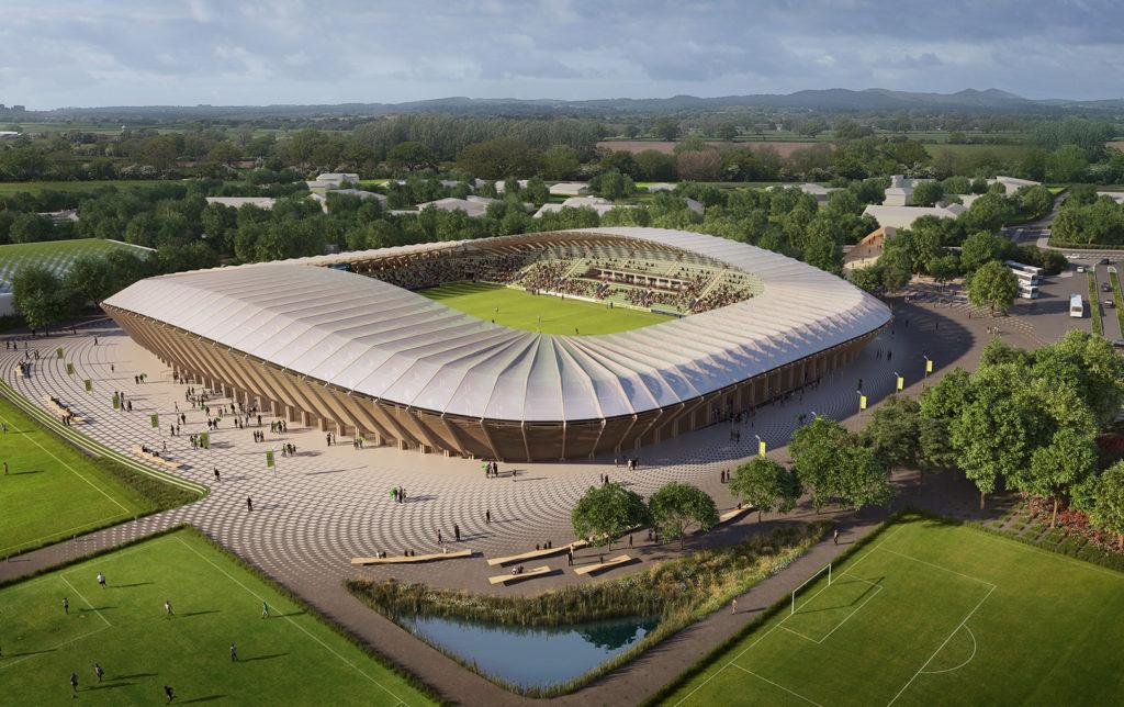 Estadio de fútbol de madera