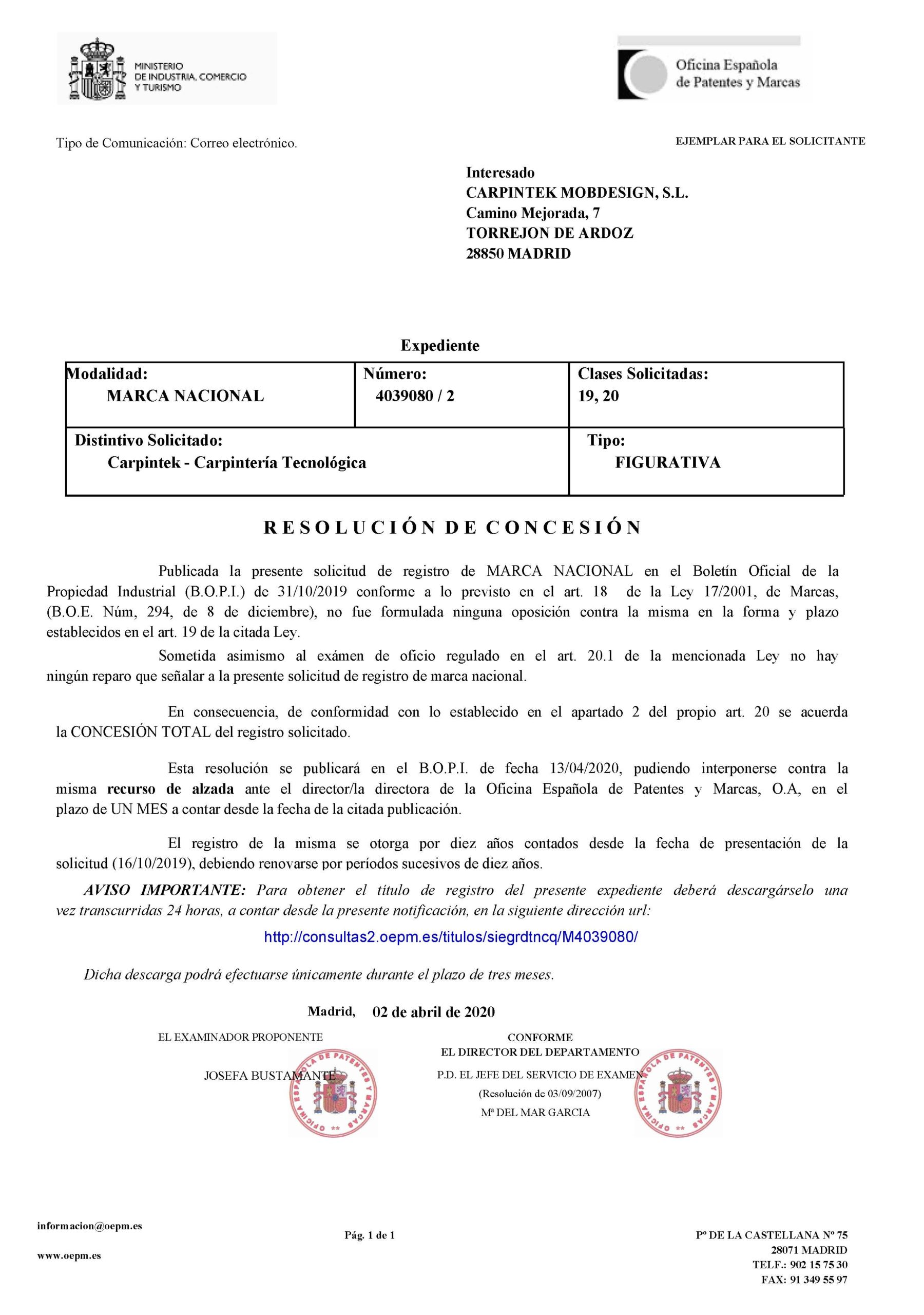 Certificado Marca Registrada Carpintek