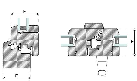Plano técnico de perfil Energytek doble vidrio 69mm