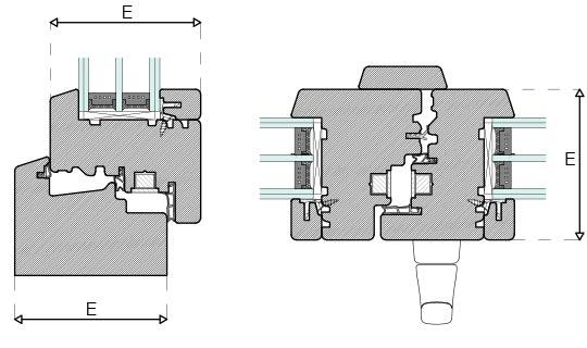 Plano técnico de perfil Energytek triple vidrio 89mm